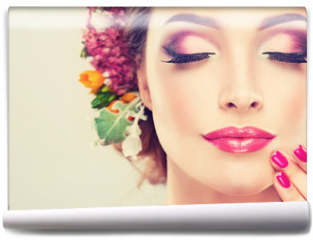 Fototapeta - Girl with delicate  flowers in hair and fashion  fuchsia nail