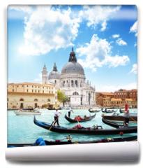 Fototapeta - gondolas on Canal and Basilica Santa Maria della Salute, Venice,
