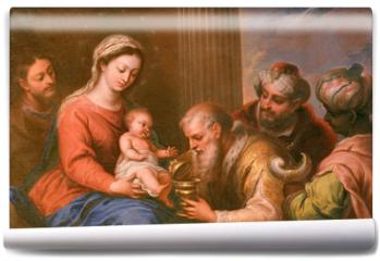 Fototapeta - Granada - Adoration of Magi painting in Monasterio de la Cartuja