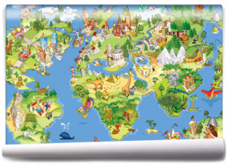 Fototapeta - Great and funny world map