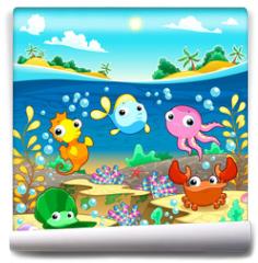 Fototapeta - Happy marine family under the sea.