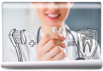 Fototapeta - Healthy teeth concept. Dentist's recommendations