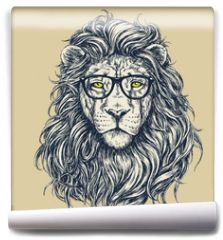 Fototapeta - Hipster lion vector illustration. Glasses separated.