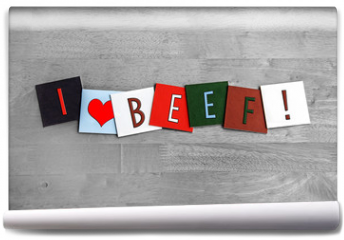 Fototapeta - I Love Beef, sign series for meats, food and cooking.