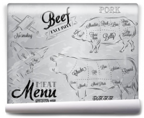 Fototapeta - Illustration of a vintage graphic element on the menu for meat