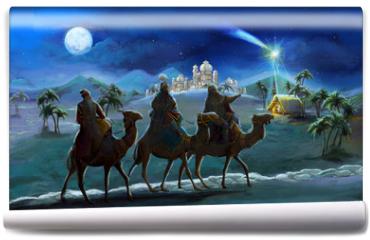 Fototapeta - Illustration of the holy family and three kings