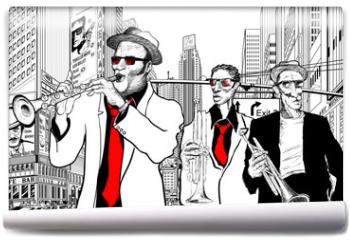 Fototapeta - jazz band in a street of new-York