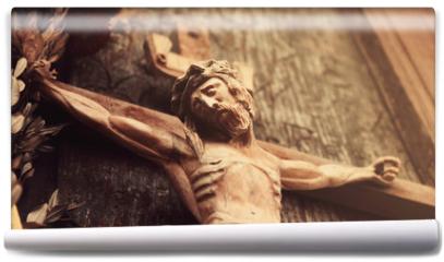 Fototapeta - Jesus Christ crucified (an ancient wooden sculpture)