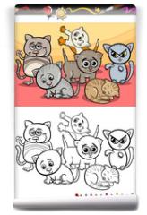 Fototapeta - kittens group cartoon coloring book