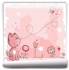 Fototapeta - Kitty and butterfly