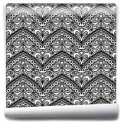 Fototapeta - Lace black seamless pattern with flowers on white background
