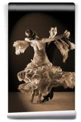 Fototapeta - Latino dancers in ballroom against black background