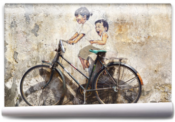 "Fototapeta - ""Little Children on a Bicycle"" Mural."