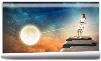 Fototapeta - Little girl pulling moon