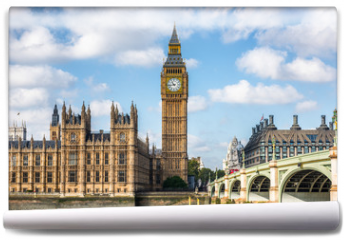 Fototapeta - London city travel holiday background. Big Ben and Houses of parliament with Westminster bridge in London, England, Great Britain, UK.