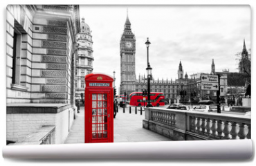 Fototapeta - London Telephone Booth and Big Ben