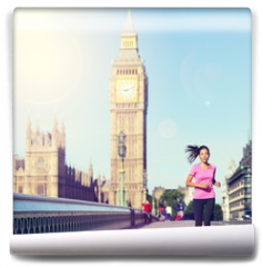 Fototapeta - London woman running Big Ben - England lifestyle