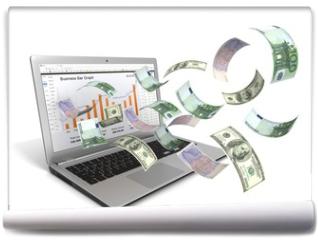Fototapeta - make money online with laptop concept