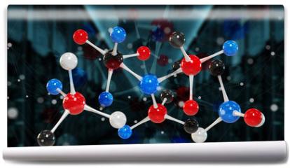 Fototapeta - Modern digital molecule structure 3D rendering