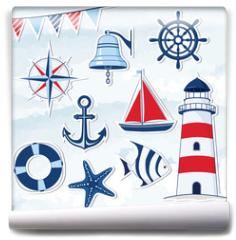Fototapeta - Nautical design elements