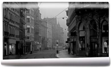 Fototapeta - old town on misty morning