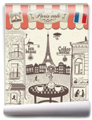 Fototapeta - Parisian street restaurant with views of the Eiffel Tower