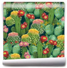 Fototapeta - pattern with blooming cactuses