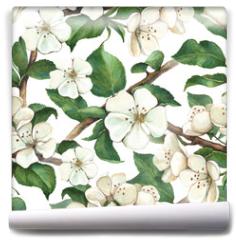 Fototapeta - Pattern with watercolor apple flowers