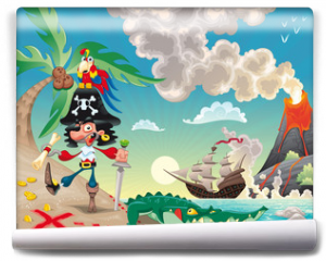 Fototapeta - Pirate on the isle. Funny cartoon and vector scene.