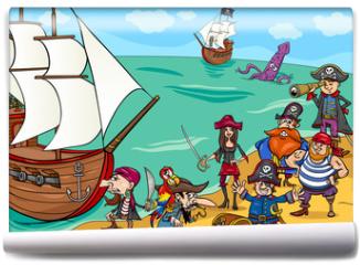 Fototapeta - pirates with ship cartoon