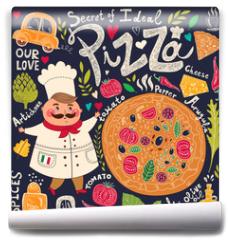 Fototapeta - Pizza design menu with chef