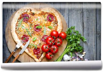 Fototapeta - Pizza heart shape with cheese and tomato on vintage boards