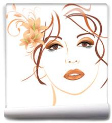 Fototapeta - Portrait of beautiful woman with lilies in hair