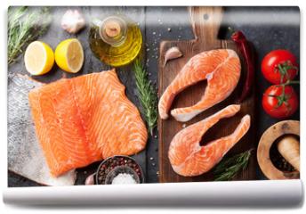 Fototapeta - Raw salmon fish steaks and fillet