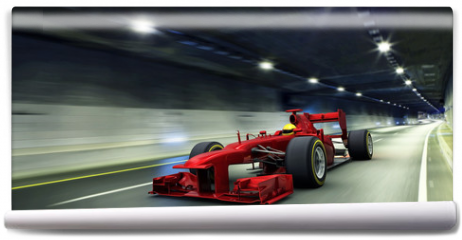Fototapeta - red racecar in a tunnel