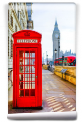 Fototapeta - Red telephone box and Big Ben in London.