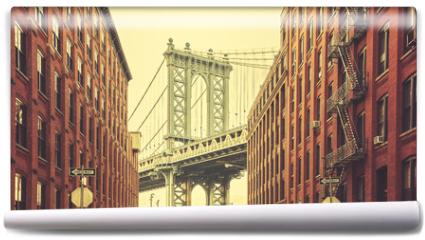 Fototapeta - Retro stylized Manhattan Bridge seen from Dumbo, New York.