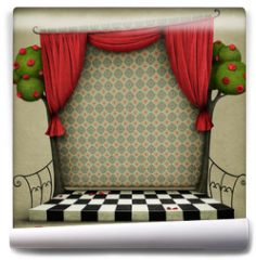Fototapeta - Room with red curtains and vintage wallpaper