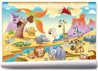 Fototapeta - Savannah animal with background. Vector illustration.