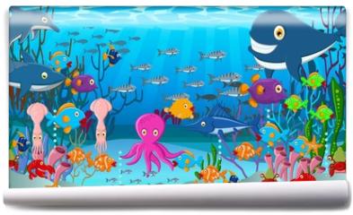 Fototapeta - Sea life cartoon background