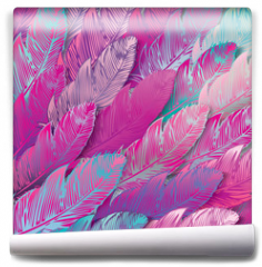 Fototapeta - Seamless background of iridescent pink feathers, close up