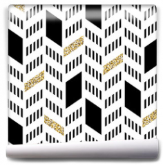 Fototapeta - Seamless Chevron Pattern. With Glittering Gold and thin lines