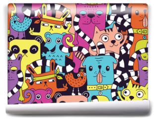 Fototapeta - Seamless pattern with cute funny animals