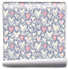 Fototapeta - Seamless pattern with doodle hearts