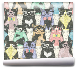 Fototapeta - Seamless pattern with hipster cute cats for children