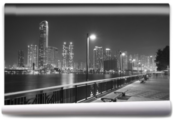 Fototapeta - Seaside Promenade of Harbor in Hong Kong city at night