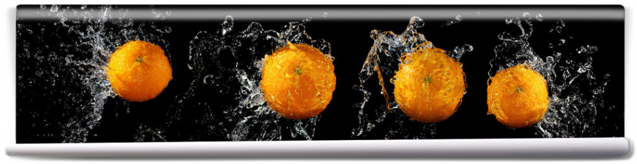 Fototapeta - Set of fresh oranges in water splash