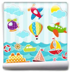 Fototapeta - set of sea and air transport