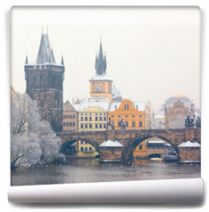 Fototapeta - snow Charles bridge in Prague