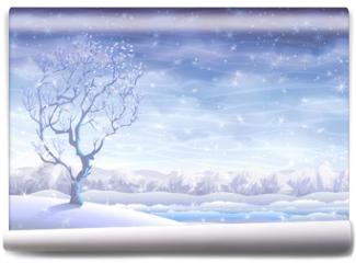 Fototapeta - Snowy rolling winter landscape and a small tree